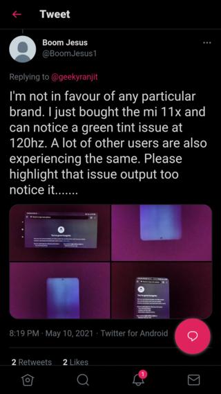 """Владельцы Poco F3 и Xiaomi Mi 11X жалуются на """"зелёные"""" экраны"""